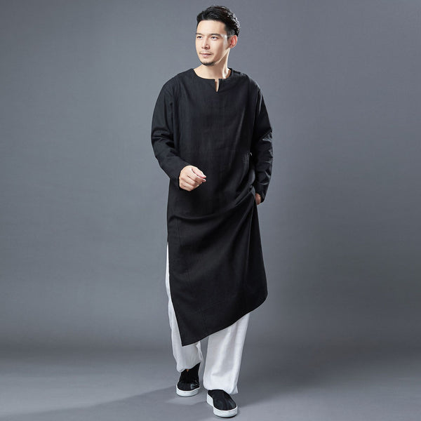 2020 NEW! Men Modern Asian Style Linen Long Sleeve Round Neck Cheongsam