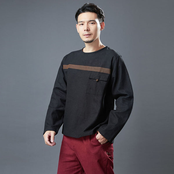 2020 NEW! Men Classic Style Linen and Cotton Long Sleeve Front Pocket T-shirt