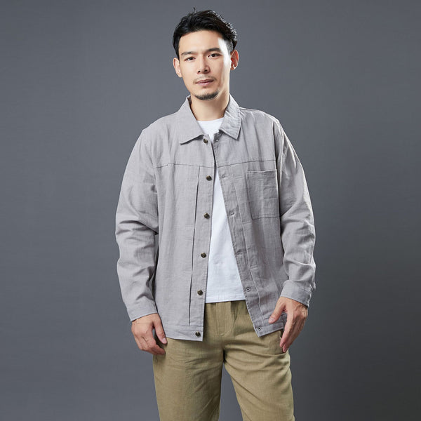 2020 NEW! Men Classic Style Linen and Cotton Long Sleeve Jacket