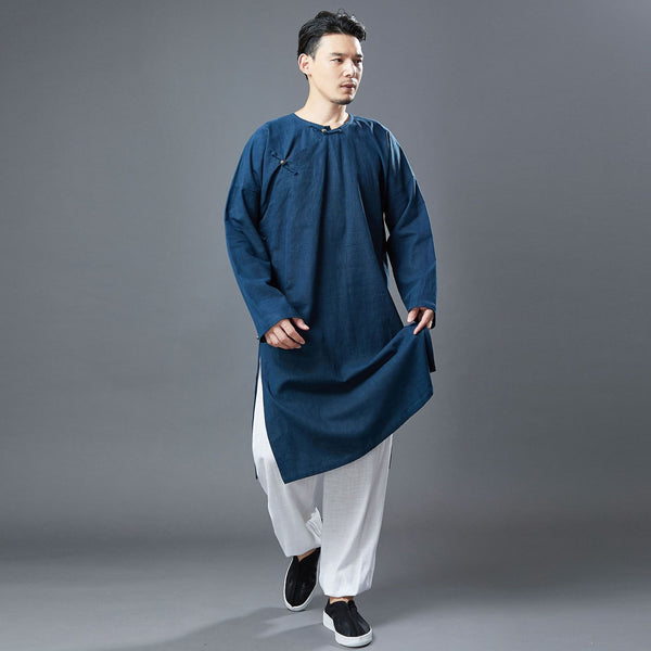2020 NEW! Men Classic Asian Style Linen Long Sleeve Round Neck Cheongsam