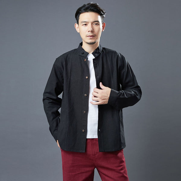 2020 NEW! Men Asian Style Linen and Cotton Long Sleeve Stand Collar Jacket