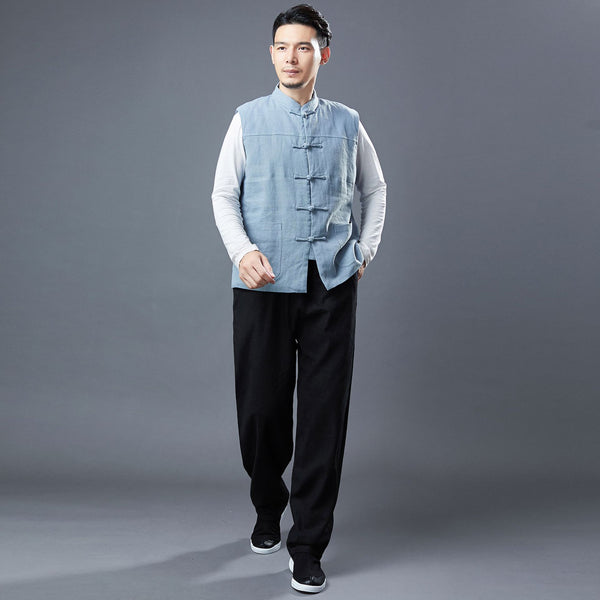 2020 NEW! Men Asian Style Pure Color Linen and Cotton Vest  (Inner with Velvet)