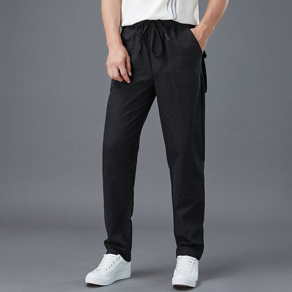 2020 NEW! Men Casual Back Big Pockets New Style Linen Pants
