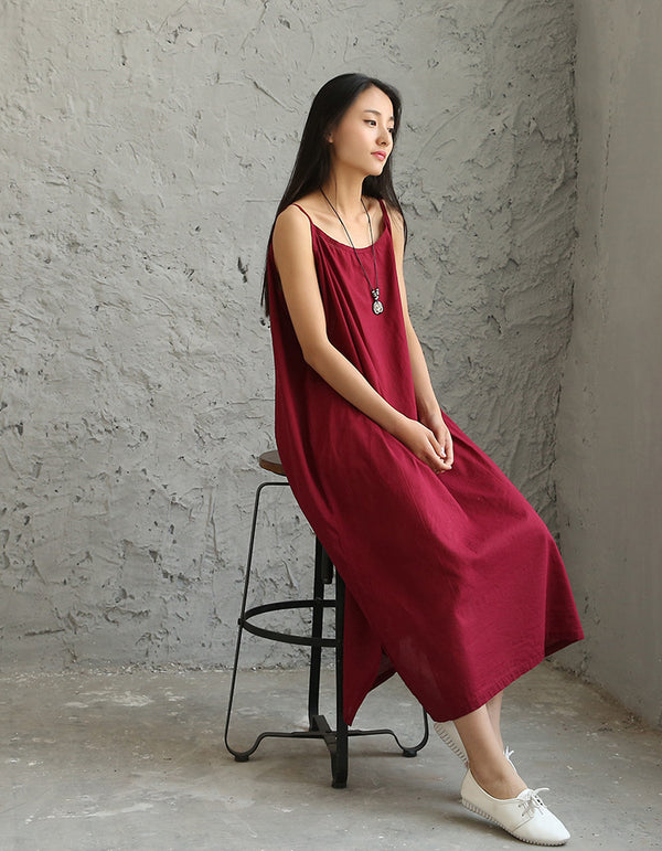 Women Large Loose Harness Linen and Cotton Dress