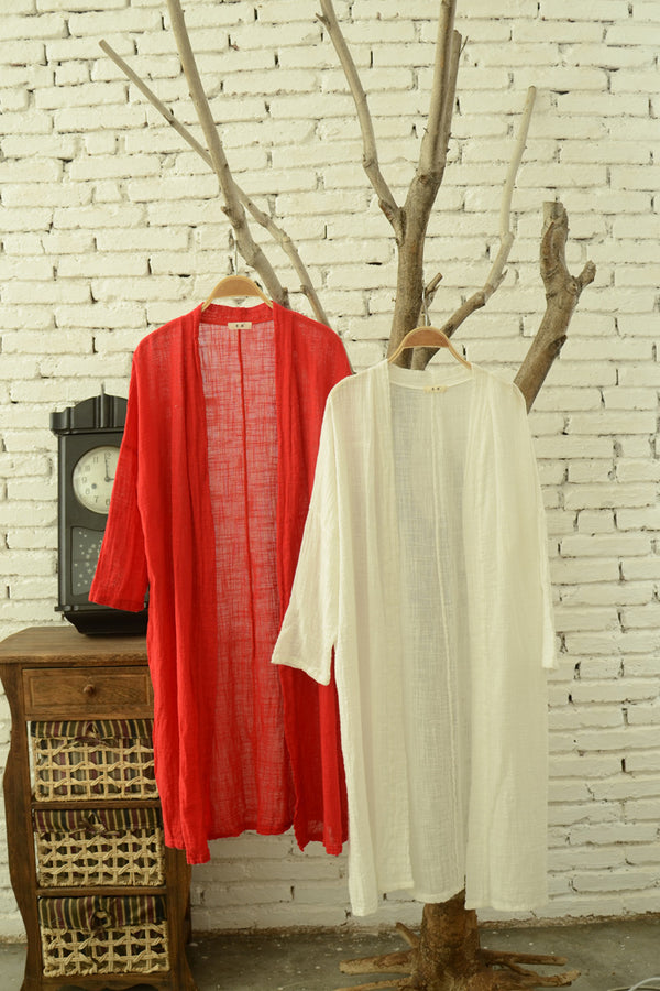 Women Simple Thin Light Linen and Cotton Coat