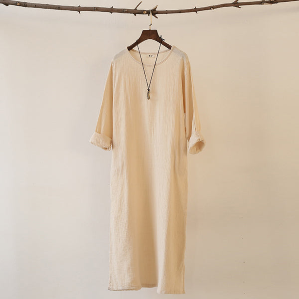Women Linen and Cotton Double-layer Long-sleeved Loose Dress