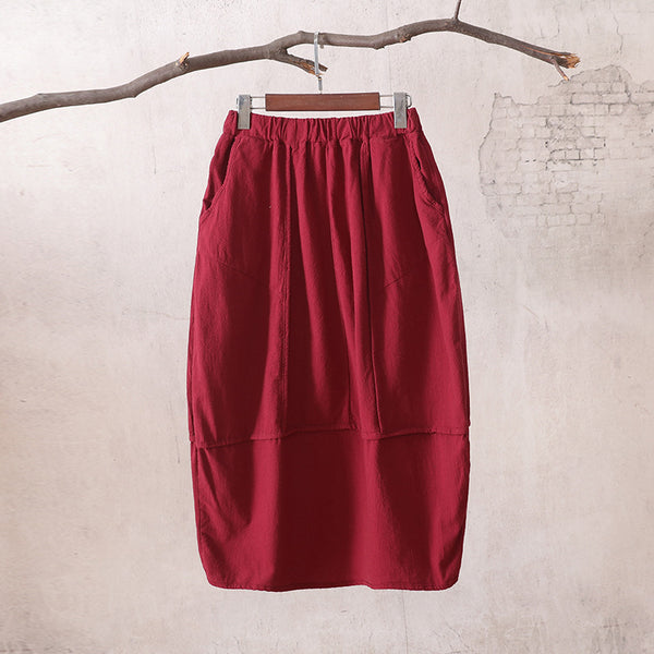 Women Linen and Cotton Bud Midi Skirt