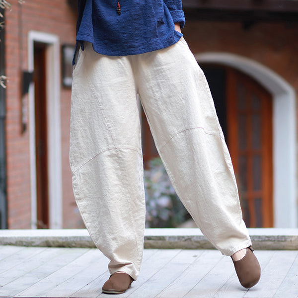 Women Lantern Style Linen and Cotton Pants