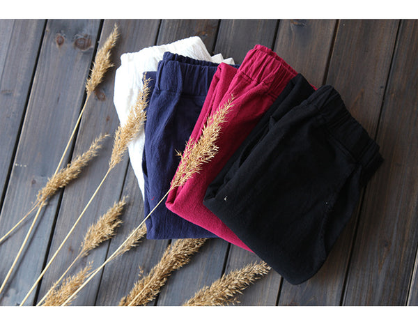 Women Soft Linen and Cotton Casual Pants