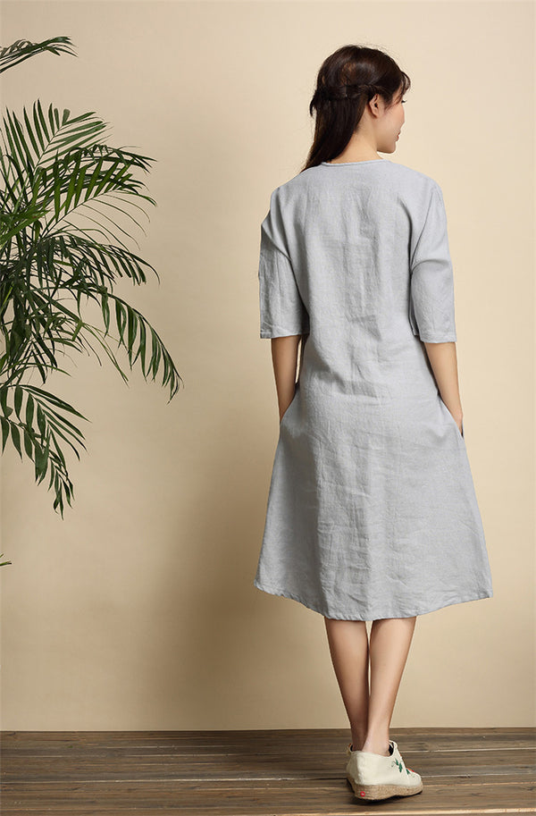 Women Simple Zen Type Women Linen and Cotton Knee Length Dress