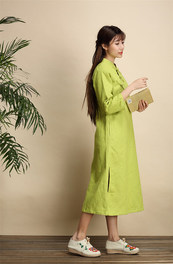Qi Pao Linen Dress/ Simple Linen Dress/ Summer Linen Dress/ Tea Length Dress/ Casual dress/ Ethnic Hanfu Dress