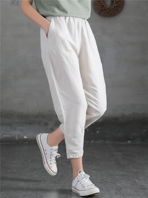 2020 NEW! Women Linen and Cotton Loose Comfort Cropped Pants