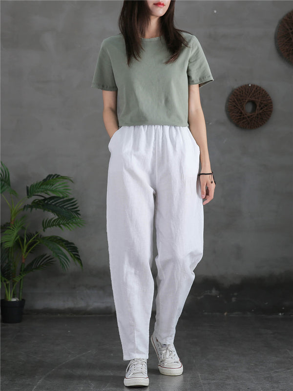 2020 NEW! Women Sand-Washed Linen and Cotton Causal Pants