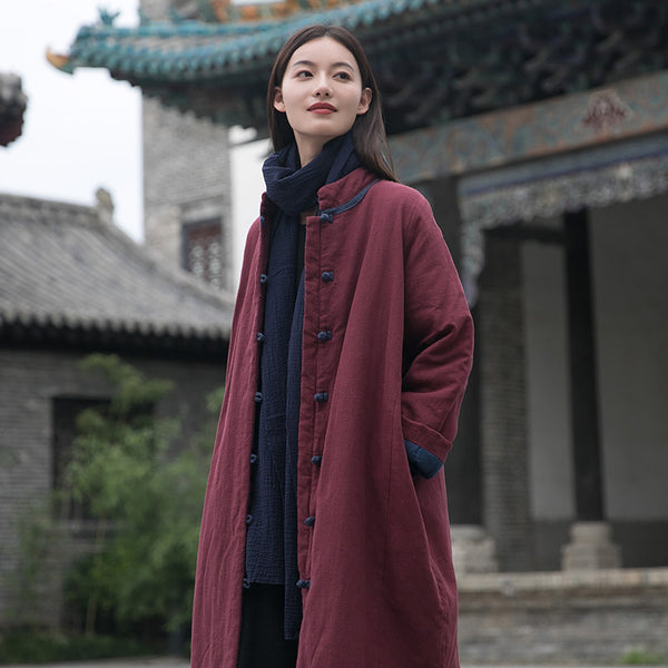 2020 WINTER NEW! Women Modern Style Middle Length Linen and Cotton Quilted Stand Collar Coat
