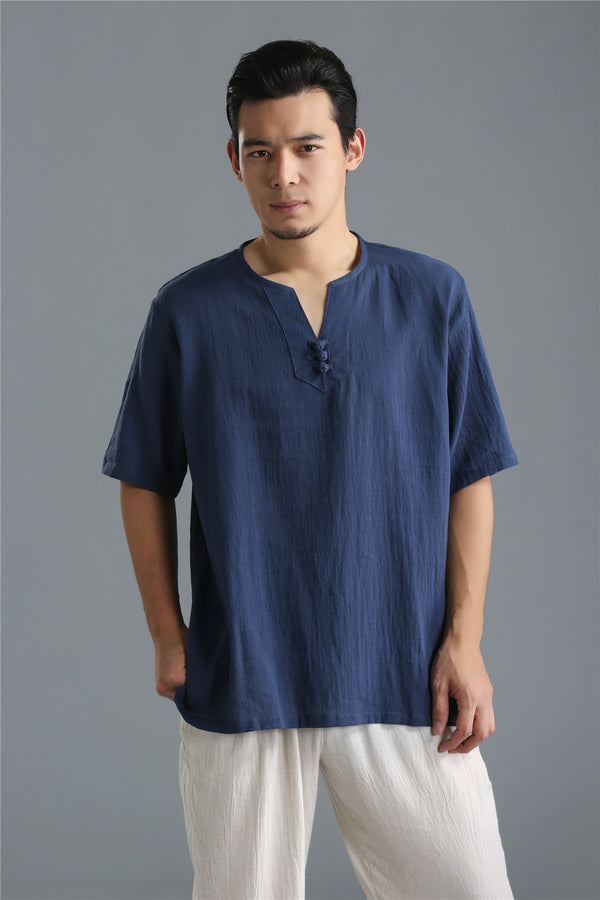 Men Pure Color Simple Linen and Cotton V-neck Short Sleeved T-shirt Tops