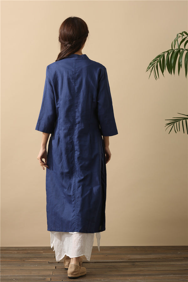 Women Cardigan Retro Buckle Collar Long sleeve Thin Linen and Cotton Dress Type Coat
