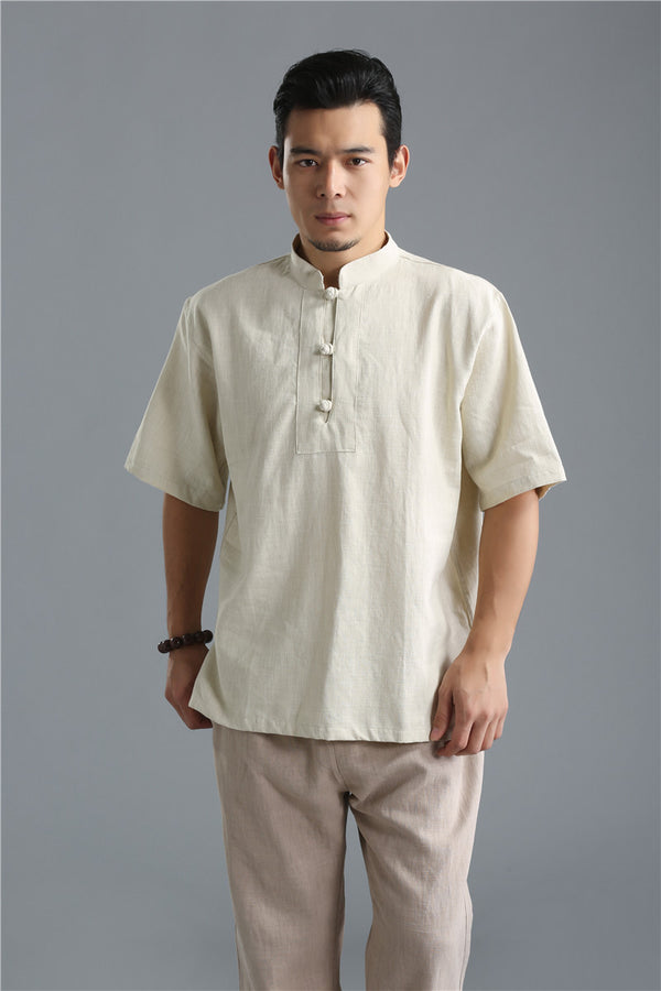 2020 SUMMER NEW! Men Buckle Causal Style Linen and Cotton Short Sleeve Tops