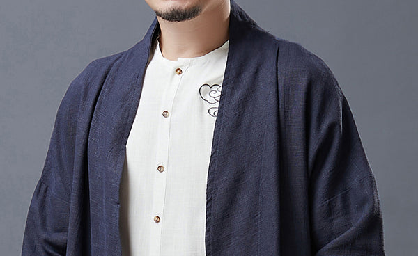 2020 NEW! Men Asian Style Linen and Cotton Buckle Windbreaker Coat
