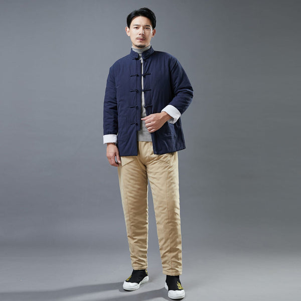 2020 NEW! Men Asian Style Linen and Cotton Chinese Buckle Quilted Jacket