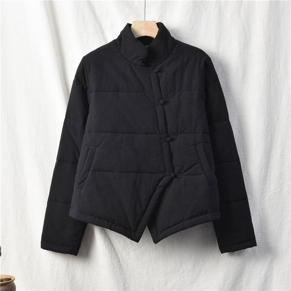 2020 NEW! Women Chinese Artsy Short Length Linen and Cotton Chinese Band Collar Quilted Jacket