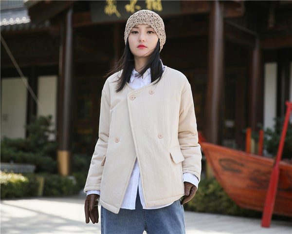 2020 NEW! Women Artsy Short Length Linen and Cotton Quilted Round Neck Jacket