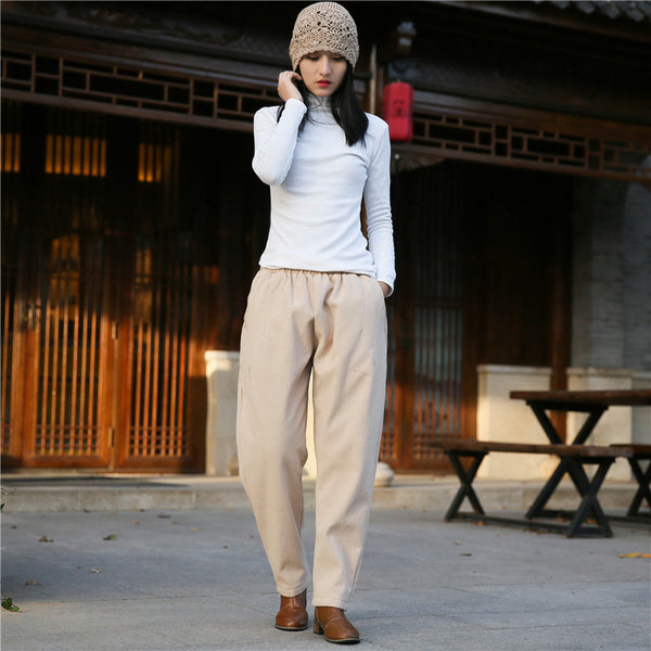2020 NEW! Women Wrinkle Linen and Cotton Tapered Pants With Velvet Inside