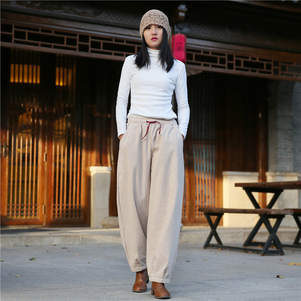 2020 NEW! Women Exotic Style Wrinkle Linen and Cotton Lantern Pants With Velvet Inside