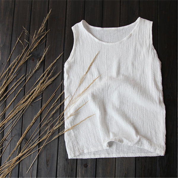 Women Loose Lace Wrinkled Cotton and Linen Vest