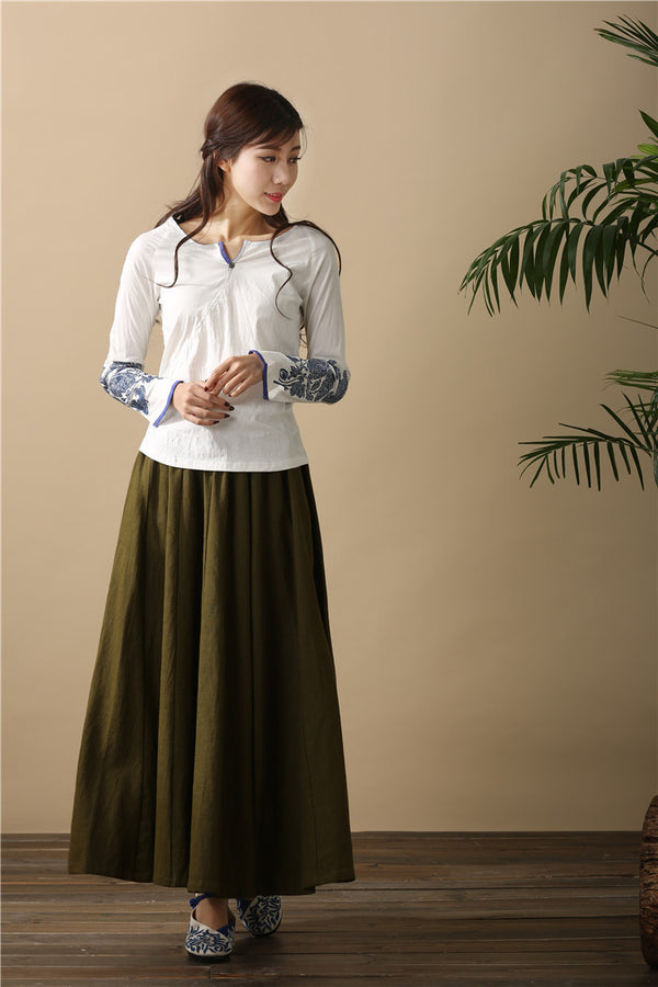 Women Retro Pure Color Loose Linen and Cotton Ankle Length Skirt