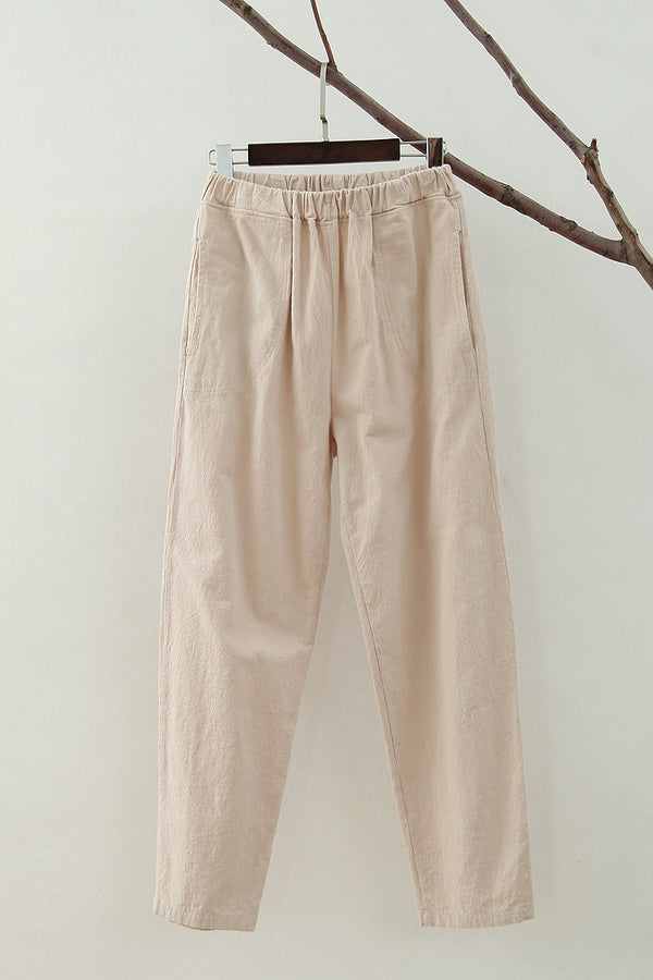 Women Simple Leisure Linen and Cotton Pants