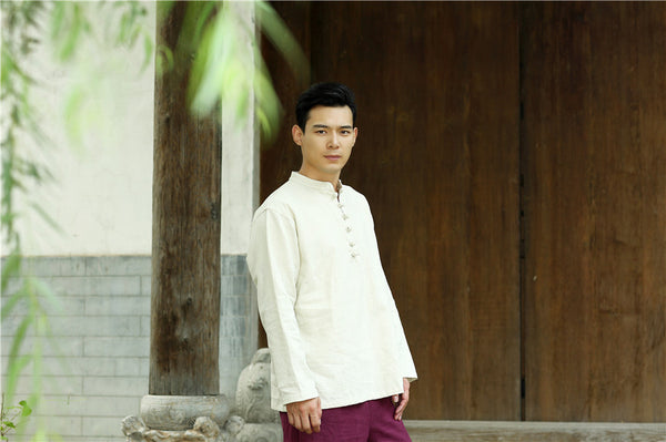 Men Round Neck Loose Long-sleeved Linen and Cotton Tops