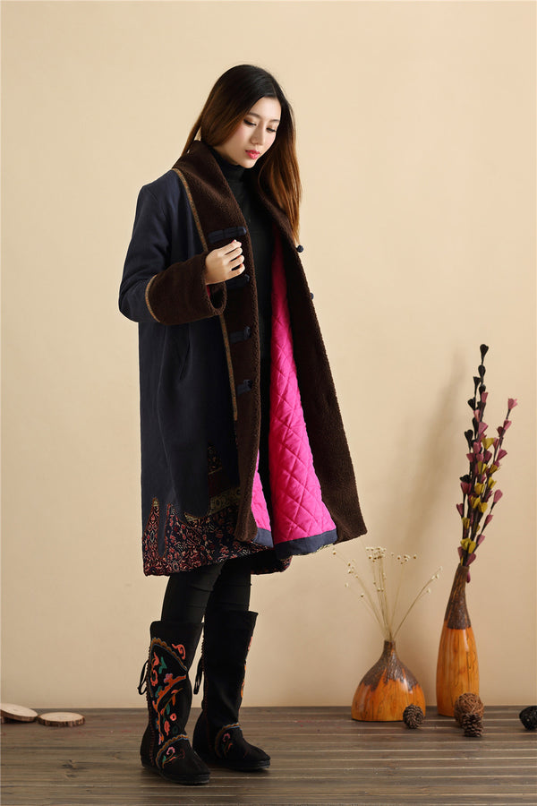 2020 NEW! Women Retro Style Long Loose Linen and Cotton Quilted Coat