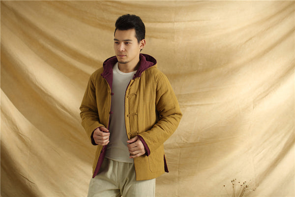 2020 NEW! Men Linen and Cotton Double Sided Jacket