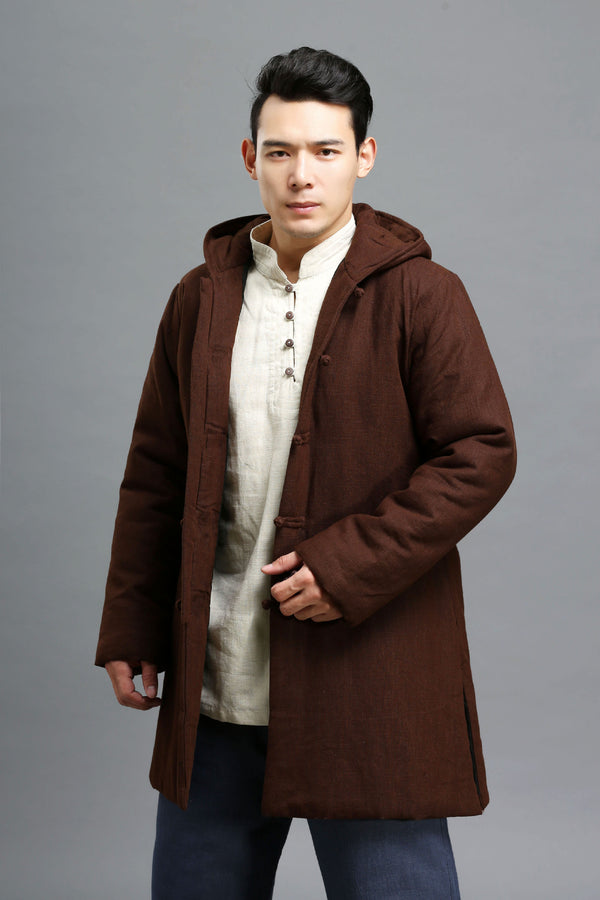 2020 NEW! Men Simple Pure Color Style Linen and Cotton Middle Length Quilted Jacket
