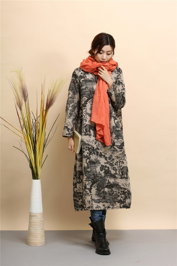 Women linen and cotton dress – Hanfu Tyle Landscape Printed Dress
