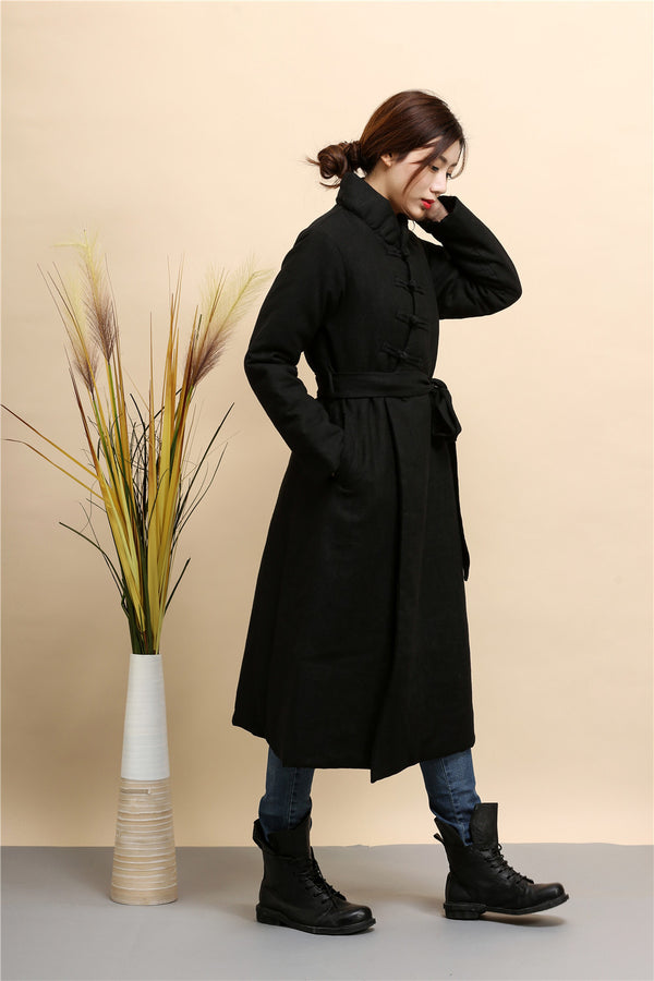 2020 NEW! Women Asian Style Diagonal Buckle Long Length Linen and Cotton Quilted Coat