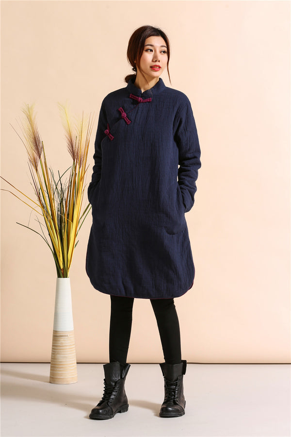 2020 NEW! Women Asian Style Middle Length Diagonal Buckle Linen and Cotton Quilted Dress