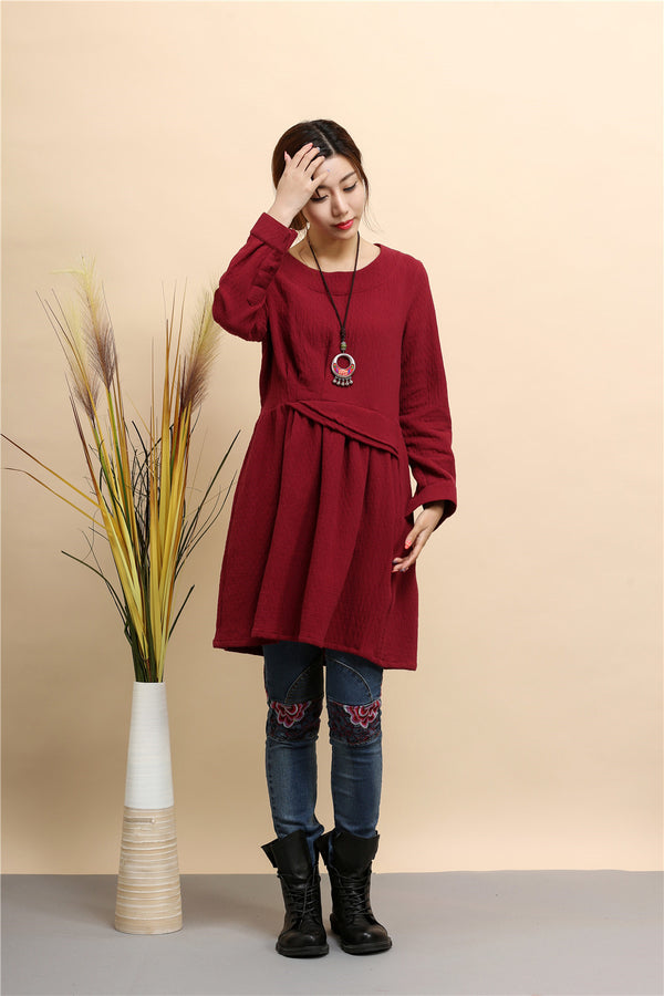 2020 NEW! Women Tunic Style Pure Color Long Sleeved Linen and Cotton Tea Length Short Dress