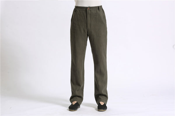Men Pure Color Cotton and Linen Straight Type Casual Pants