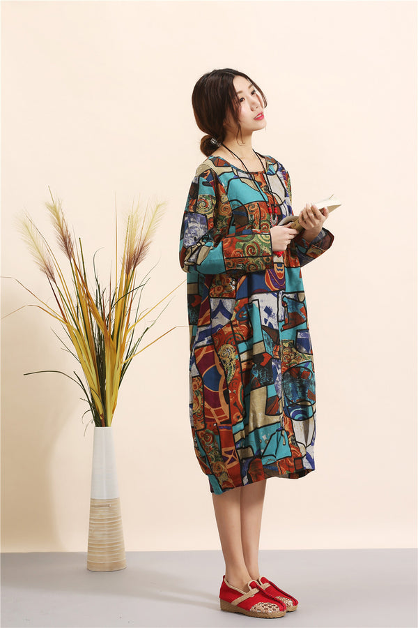 Women Eastern Style Linen and Cotton Printed Dress