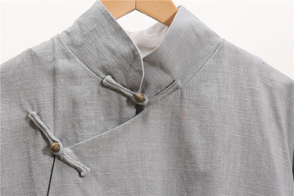 Men Tranditional Chinese KungFu Style Tunic Type Linen and Cotton Coat
