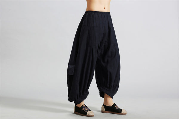 Men Casual New Style Loose Pure Color Cotton and Linen Hanging Crotch Pants