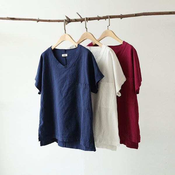 Women Cotton and Linen V-neck Short Sleeve Loose T-shirt