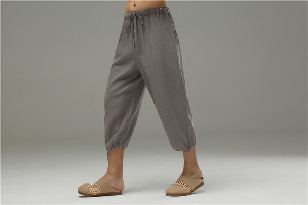 Men Casual Simple Pure Color Cotton and Linen Capri Pants