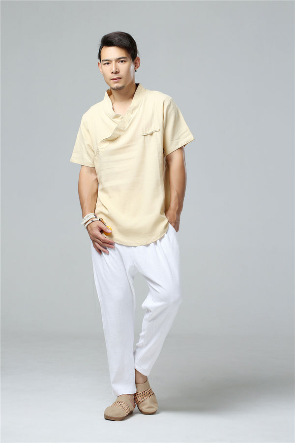 Men Simple Hanfu Style Short Sleeve Linen and Cotton T-shirt Tops