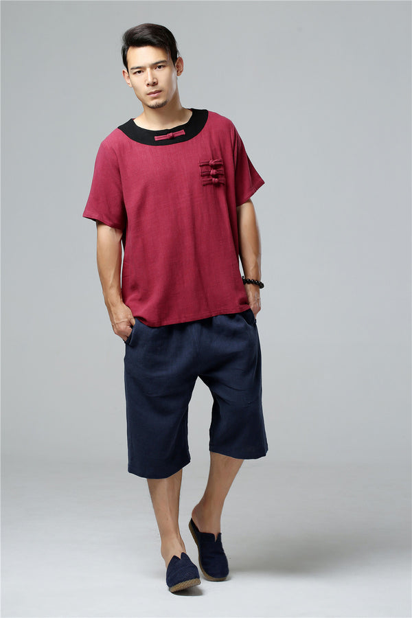 2020 SUMMER NEW! Men Asian Retro Style Round Neck Linen and Cotton Short Sleeve Tops