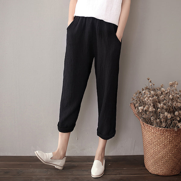 Women Simple Casual Linen and Cotton Cropped Pants