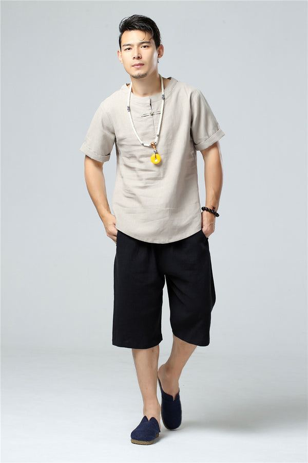 2020 SUMMER NEW! Men Round Neck Causal Style Linen and Cotton Short Sleeve Tops