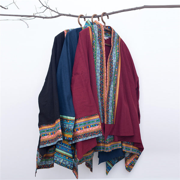 Men Retro Chinese Folk Style Linen and Cotton Poncho