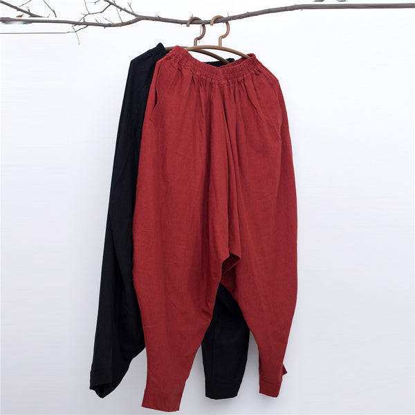 Men New Style Loose Pure Color Linen Hanging Crotch Pants
